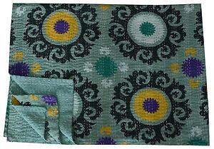 Gris Suzani Indien Kantha Couette Coton Jeté de Lit Décorative Vintage Ethnique