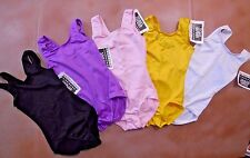 NWT unlined tank leotard spandex girls sizes 5 colors satin finish Dance