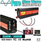 Pure Sine Wave 1500W Max 3000W 12V/230V Watt Power Inverter Car Camping Caravan