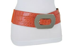 Women Silver Metal Square Buckle Wide Elastic Belt High Waist Hip Orange XS S