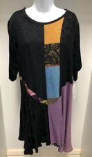 NEW Donna Jessica Size 1 Asymmetrical Dress Black Multicoloured Patch Work