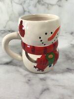 Bay Island Inc Christmas Holiday Winter Snowman Coffee Tea Cup Mug Red White