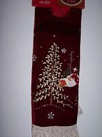 "Village Scene Red Fringed Christmas Tree Skirt Fleece 48"" By Trim a Home"