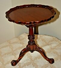 Antique Table Pie Crust Top Side Accent Claw Feet Scalloped Mahogony? Wood