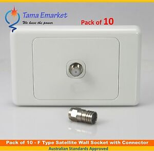 """10 x 1 Gang Satellite Wall Plate with """"F"""" type Connector & RG6 """"F"""" type crimp"""