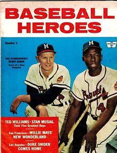 1958 Hank Aaron, Milwaukee Braves BASEBALL HEROES Magazine EX