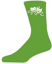 Alta Qualità Verde Calzini con commedia e tragedia maschere, bellissimo regalo di compleanno