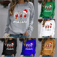 Womens Christmas Long Sleeve Oversized T-shirt Ladies Pullover Casual Blouse Top