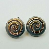 AUTHENTIC 1960 VINTAGE RETRO LADIES EARRINGS GOLD SPIRAL SILVER TONE