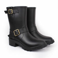 Suede Warm Rubber Surface Waterproof Rain Boot Womens Shoes Ankle Mid Calf Jd_uk