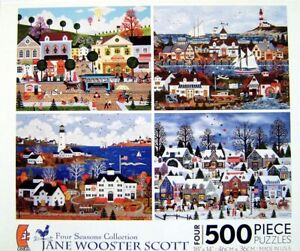 Jane Wooster Scott Four Seasons Collection Four (4) 500 piece Jigsaw Puzzle Set