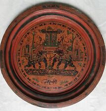 Burmese Lacquer Wood Plate Black Red Hand Painted Vintage decor collectible