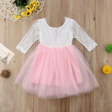 Princess Kid Baby Girl Dress Lace Tulle Floral Party Solid Bridesmaid Dress 1-6Y
