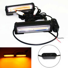 2X 18W AMBER LED Fog Warning Hazard Lamp SUV Car Strobe Flasher Light Bar Switch