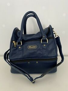 Henselite Leather Double Decker Bowls Bag In Blue Hand And Shoulder Straps