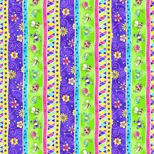 Topsy Turvy Blue Yellow Green Pink Butterfly Lady Bug Stripe Baby Quilt Fabric