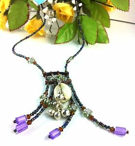 Choker Necklace Cowrie Shell Purple Navy Beads Surf Kuchi Gypsy Festival Jewelry