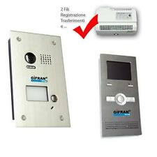 """Kit videocitofono 2 fili pulsantiera e monitor 3,5"""" Videocitofoni memoria e GSM"""