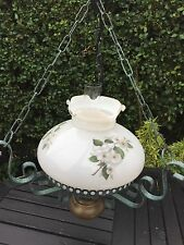 VINTAGE PAINTED METAL WITH TRADITIONAL GLASS SHADE CEILING LIGHT /CHANDELIER