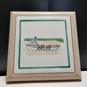 Howard Originals Tulsa OK Hand Painted Tile Trivet Beach Boat AVALON