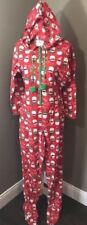PJ Couture Ugly Christmas Hooded Footed Pajama One Piece Santa NWT M LAST ONE