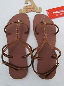 "Havaianas Womens Bronze""Allure Maxi"" Sandals Singback Flipflops Spike US Sz 9/10"
