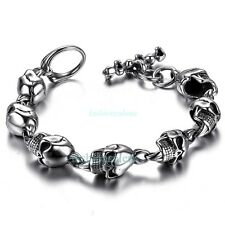 "8.27"" Large Heavy Stainless Steel Gothic Skull Biker Men's Boy's Chain Bracelet"