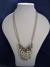 New Striking Faux Pearl and Silver Chain Necklace
