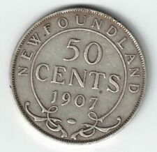 NEWFOUNDLAND 1907 50 CENTS KING EDWARD VII CANADIAN STERLING SILVER COIN