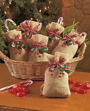 NEW Set of 6 Burlap & Berry Treat Gift Christmas Holiday Goody Goodie Bags