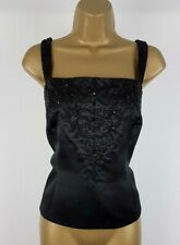 Frank Usher Womens Black Satin Beaded Embroidered Floral Corset Top UK 16