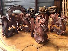 "Bali Roaring Naga Dragon Hand carved Suar Wood Sculpture Balinese 12"" Carving"