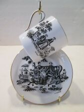 ROYAL CHELSEA England TEA PARTY BLACK ON WHITE DEMITASSE Cup & Saucer