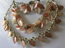 Thermoset Lucite  oak  LEAVES Necklace bracelet  Earring set-70