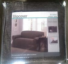 Maytex Plush Stretch Sofa Slipcover, Taupe Brown