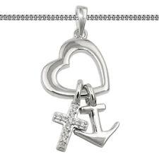 Glaube Liebe Hoffnung Kreuz Herz Anker Anhänger mit Kette Echt Silber 925