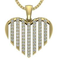 SI1 G Heart Pendant Necklace Round Cut Diamond 0.60 Ct Yellow Rose Gold Pave Set