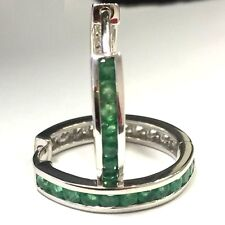 Emerald 9 Carat White Gold Fine Earrings