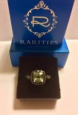 Rarities ~ PRASIOLITE Gem & BLACK SPINEL Sterling Ring / Size 8 - New in Box