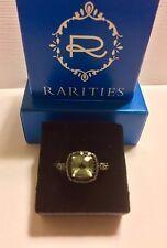 Rarities ~ PRASIOLITE Gem & BLACK SPINEL Sterling Ring / Size 8 - New in Box
