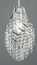Retro Art Deco Esk Cut Glass Cascading Twist Pendant Chandelier NEW Chrome Metal