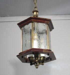 Vintage Lantern Chandelier Fixture 3 Light Wood Brass Glass Rewired Lamp