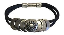 """Indian Magnetic Leather Bracelet """"Perception"""" Jewelry Hand Made Stamped"""