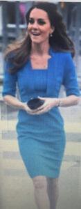 "NWT L.K. BENNETT ""Detroit"" Kate Middleton Snorkel Blue Pencil Dress sz 2 UK 6"
