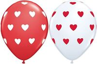 10 BIG HEARTS 28CM LATEX BALLOONS RED WHITE HEART VALENTINES DAY ENGAGEMENT LOVE