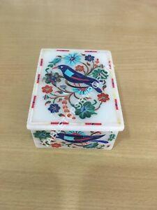 White Marble Jewelry Box Multi Floral Bird Inlay Design Girls Gift Decor E1487