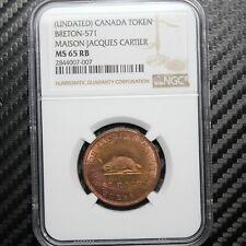 Canada: Breton-571 Maison Jacques Cartier Token - NGC MS65RB - Scarce high grade
