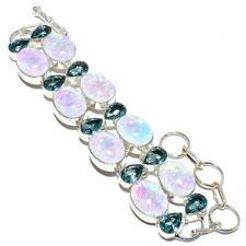 """Triplet Fire Opal, Blue Topaz Gemstone 925 Silver Jewelry Bracelet 7-8"""" AQ-132"""