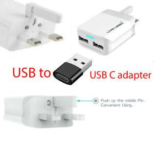 2 USB Ports UK Main Wall 3 Pin Plug Adapter Charger for iPhone 12 11 ProMax iPad