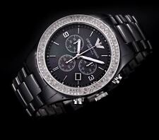 NEW EMPORIO ARMANI LADIES BLACK CERAMICA CRYSTALS WATCH AR1455 - 2 YEAR WARRANTY